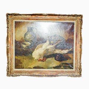 Dipinto ad olio antico con gallo