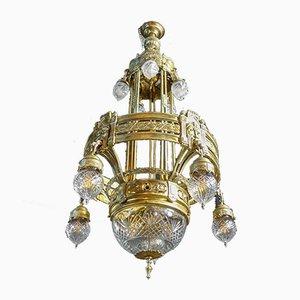 High Antique Chandelier Light in Gold, 1890s