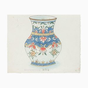 Chinese Porcelain Vase, 1890s, Ink and Watercolor