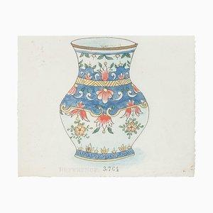 Vase en Porcelaine, Chine, 1890s, Ink and Aquarelle