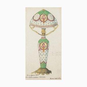 Inconnu - Porcelaine Lumen - Encre de Chine Original et Aquarelle - 1890s