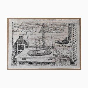 Giuseppe Viviani, Ocarina and Sea, Tintenzeichnung, frühes 20. Jh