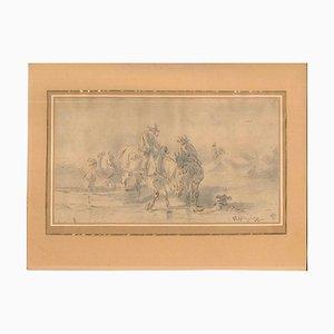 Sconosciuto - Paesaggio con uomini e cavalli - Inchiostro e acquerello originali, Cina, inizio XIX secolo
