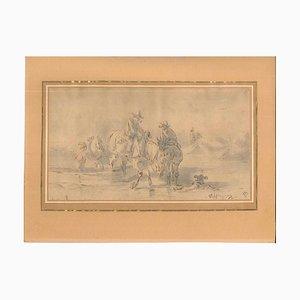 Unknown - Landscape with Men and Horses - Original China Ink and Watercolor - Early 1800