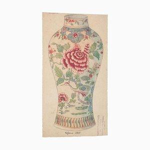 Chinesische Porzellan Vase, 1890er, Tinte und Aquarell