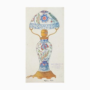Chinese Porcelain Lumen, 1890s, Ink and Watercolor