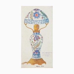 Chinesisches Porzellan Lumen, 1890er, Tinte und Aquarell