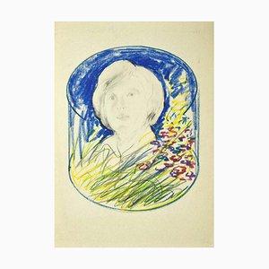 Danilo Bergamo, Portrait, 1980er, Bleistift und Pastell auf Karton