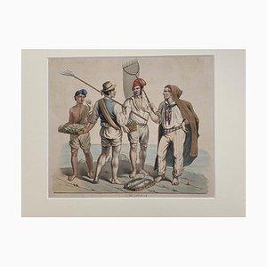 Pescatori napoletani, XIX secolo, guazzo