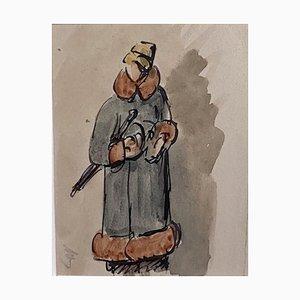 Karl Hanny, Figurine de Femme, milieu 20ème Siècle, Encre et Aquarelle