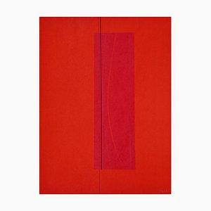 Litografia di Lorenzo indrimi, 6 rosso, anni '70