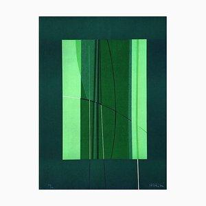 Litografia Lorenzo indrimi, verde, anni '70