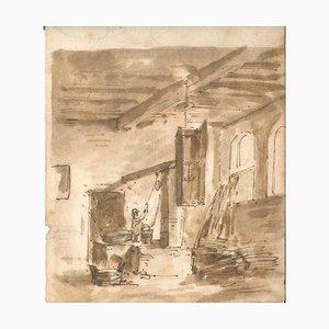 Thomas Stothard, Innenraum eines Hauses, Frühes 19. Jahrhundert, Tintenzeichnung