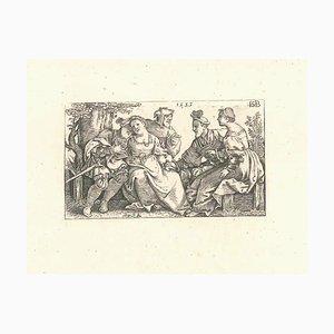 Sebald Beham, The Jester und Two Couples in Love, 1514, Radierung