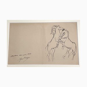 Yves Brayerm, Horses, 1954, Ink Drawing