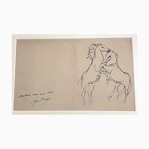 Yves Brayerm, Pferde, 1954, Tuschezeichnung