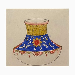 Chinesische Porzellanvase, Tinte & Aquarell, spätes 19. Jh