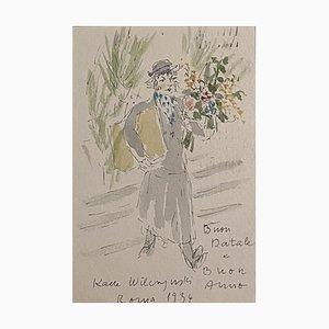 Katerina Wilczynski, Blumenladen, 1934, Zeichnung und Aquarell