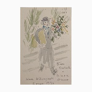 Katerina Wilczynski, Flower Shop, 1934, Drawing and Watercolor