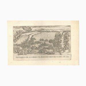 Incisione Annibal Crossing the Rone, sedicesimo secolo, incisione