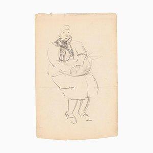 Eine alte Frau, Bleistift-Zeichnung des frühen 20. Jahrhunderts
