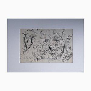 Composition Abstraite Grise, 1970s, Pastel