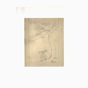 Ernest Rouart, Le Lièvre et l'Oiseau, 1900s, Pencil on Paper