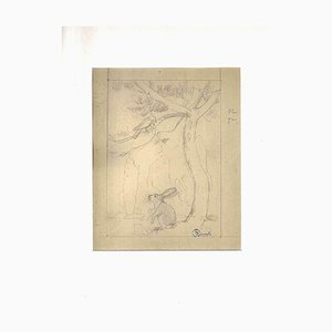 Ernest Rouart, The Hare and the Bird, 1900s, Pencil on Paper