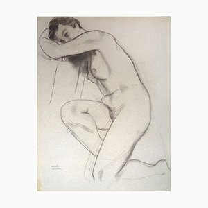 Emile Deschler, Nude, Late 20th-Century, Charcoal on Paper