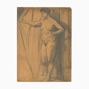 Standing Nude in Profile, Early 20th-Century, Pencil on Paper