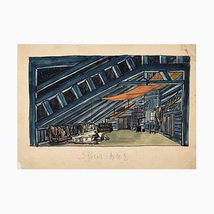 Scenography, Décor Acte I, Early 1900s, Ink and Watercolor