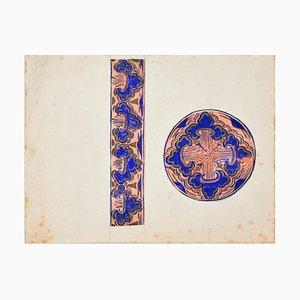 Adolphe Giraldon, estudio de decoración, principios del siglo XX, témpera