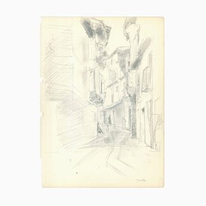 Jacques Hirtz, Narrow Lane, Mid-20th-Century, Pencil on Paper
