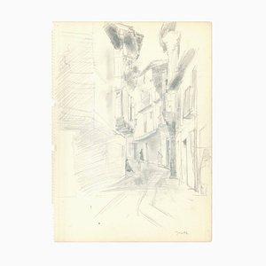 Jacques Hirtz, schmale Lane, Mitte des 20. Jahrhunderts, Bleistift auf Papier