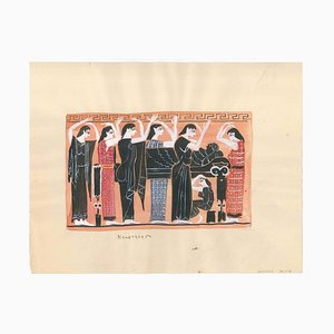 Alkis Matheos, griechisches Begräbnis, Tempera