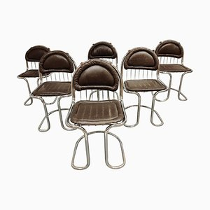Vintage Chrome and Leather Cantilever Dining Chairs, 1970s, Set of 6
