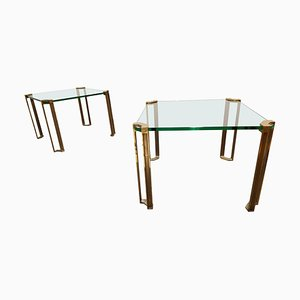 Model T24 Pioneer Brass Side Tables by Peter Ghyczy, Set of 2