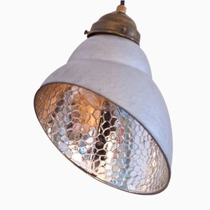 Small Vintage Asymmetrical Hanging Lamp with Glass Shade