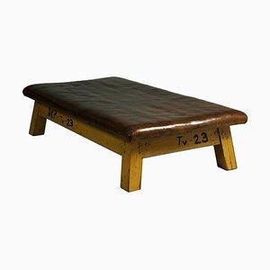 Tavolo da palestra grande in pelle, anni '50