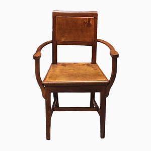 Antique Italian Walnut Dining Chair with Worked Armrests, 1900s