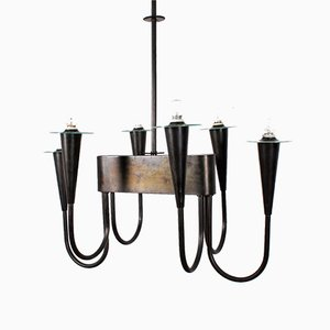 Laquered Brass Chandelier by Tomaso Buzzi, Italy, 1940s