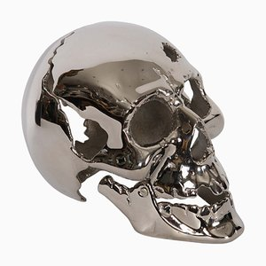 French Nickel-Plated Skull, 1950s
