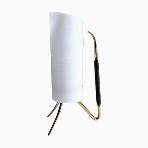 Dreibein Tischlampe aus Plexiglas & Messing mit Griff, 1950er