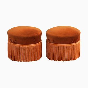 Vintage Fringed Ottomans, 1960s, France, Set of 2
