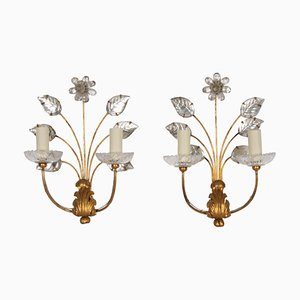 Sconces with Flowers from Maison Baguès, 1950s, Set of 2