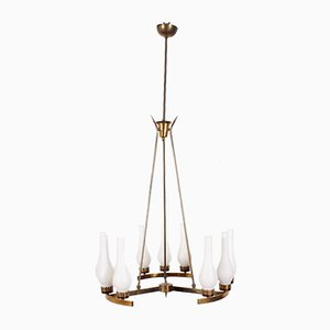 Brass and Opaline Glass Chandelier by Tomaso Buzzi Attributed to Stilnovo, Italy, 1940s