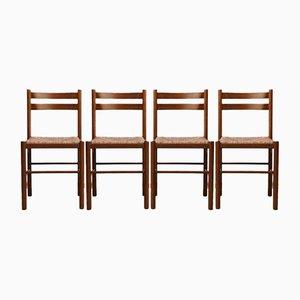 Chaises de Salon Mid-Century en Jonc, Set de 4