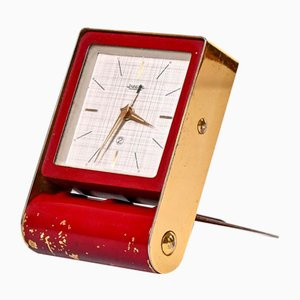 Art Deco Mid-Century Burgundy Travel Alarm Clock by Jaeger-LeCoultre for Jaeger- LeCoultre