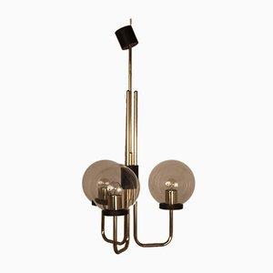 Italian Brass Ceiling Lamp in the Manner of Stilnovo, 1950s