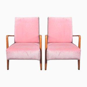 Pink Velvet Armchairs, 1960s, Set of 2
